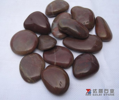 High Polished Red Color Pebble Stone
