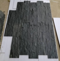 Black Quartz Slate Tiles Natural Black Culture Stone for wall cladding