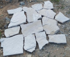 White Sandstone Loose Stone Wall Cladding White Color